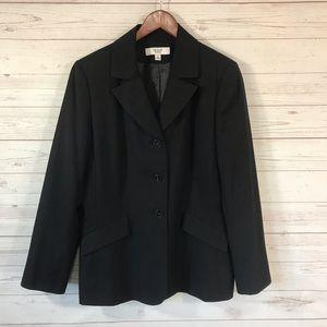 Le Suit Black 3 Button Pinstriped Career Blazer